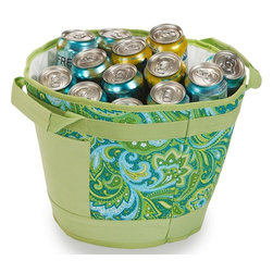 "Picnic Plus - Austin Ice Bucket, Green Paisley - Picnic Plus Austin Table Top Insulated Leakproof Ice Bucket Cooler, Green Paisley. Color/Design: Green Paisley; Portable and compact for entertaining anywhere, at anytime; Durable 600D exterior; With sturdy carry handles; Fully insulated, leakproof easy clean liner; Hold wine bottles, beer, 2 liter soda bottles, up to 18 cans, plus ice; Front pocket has a velcro flap for custom monogramming. Dimensions: 13""D x10 1/2""H"