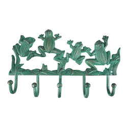 Zeckos - Wall Mounted Verdigris Frogs Key / Coat Rack Hanger - This beautiful cast iron jumping frogs 5 hook wall mounted coat rack is a great decor item for any frog lover. The hanger has a hand-painted aged verdigris finish, and the hooks are tipped with round plastic balls, so your clothing won`t get snagged. The rack measures 6 3/4 inches high, 11 inches across, and the hooks stick out 2 inches from the wall. It makes a great housewarming gift.
