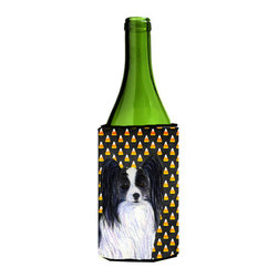 Caroline's Treasures - Papillon Candy Corn Halloween Portrait Wine Bottle Koozie Hugger SS4298LITERK - Papillon Candy Corn Halloween Portrait Wine Bottle Koozie Hugger SS4298LITERK Fits 750 ml. wine or other beverage bottles. Fits 24 oz. cans or pint bottles. Great collapsible koozie for large cans of beer, Energy Drinks or large Iced Tea beverages. Great to keep track of your beverage and add a bit of flair to a gathering. Wash the hugger in your washing machine. Design will not come off.