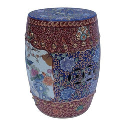 Pre-owned Chinoiserie Ceramic Garden Stool - A Chinoiserie ceramic garden stool. This intricately decorated piece features blue, red, and gold coloring with floral and bird motifs. It will make for a most beautiful addition to your garden or patio. The stool is excellently crafted and in great condition.