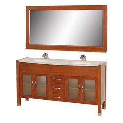 """Wyndham Collection - Daytona Cherry with Ivory Marble Top with White Porcelain Undermount Sink - The Daytona 63"""" Double Bathroom Vanity Set - a modern classic with elegant, contemporary lines. This beautiful centerpiece, made in solid, eco-friendly zero emissions wood, comes complete with mirror and choice of counter for any decor. From fully extending drawer glides and soft-close doors to the 3/4"""" glass or marble counter, quality comes first, like all Wyndham Collection products. Doors are made with fully framed glass inserts, and back paneling is standard. Available in gorgeous contemporary Cherry or rich, warm Espresso (a true Espresso that's not almost black to cover inferior wood imperfections). Transform your bathroom into a talking point with this Wyndham Collection original design, only available in limited numbers. All counters are pre-drilled for single-hole faucets, but stone counters may have additional holes drilled on-site. Dimensions: 63 in. x 22 in."""