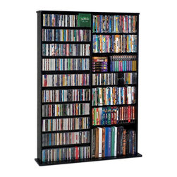 Leslie Dame - Multimedia Storage Rack in Black - Deluxe handcrafted solid Oak veneer open wall multimedia rack has that rare combination of classic design and high quality construction. Beautiful furniture quality rack will compliment any decor while providing the consumer the versatility of holding CD's, DVD's, VHS Video Cassettes or Game Cartridges. Holds 1000 CDs, 408 DVDs, 600 Audio Cassettes or 240 VHS Video Cassettes. Black finish. 44.8 in. W x 9.5 in. D x 63.75 in. H (88 lbs.)