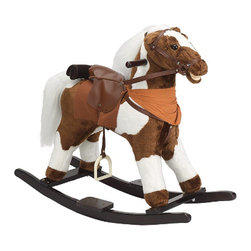 Charm Co. - Pinto Rocking Horse with Sound - This beautiful plush rocking pinto horse has a white mane & tail. He has a brown saddle and reins. His neck is adorned with a brown neckerchief and he has a removable brown saddle blanket with a bedroll. He comes with two sound features, squeeze his left ear and hear him gallop, squeeze his right ear and hear him whinny! Requires 2 AA batteries (not included).