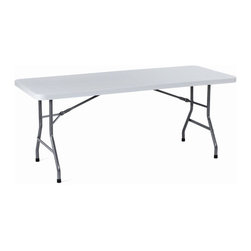 BOSS Chair - Medium Size Folding Table w Plastic Top & Bla - Plastic and steel construction. Provides strength, stability, and is very lightweight. Plastic molded table surface won't stain, chip, warp, or crack. Ergonomically designed handholds along edges for ease of handling. Leg locking mechanism holds legs closed during storage and transport. Surface color: light grey. Leg color: Black paint. Base/wood: Grey/Black. Overall dimension: 30 in. W x 72 in. L. Weight capacity: 250 lbs