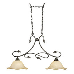 """Vaxcel Lighting - Vaxcel Lighting PD38834OL Vine Traditional Kitchen Island Light - A delicate balance of scalloped glass and intricate vines, very aesthetically pleasing.  Canopy is oval and it is 8""""long x 4-5/8"""" wide."""