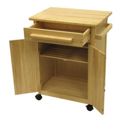 Winsome Wood Single Drawer Storage Cart, Natural - Compact rolling storage cart offers multi-use workspace for kitchens