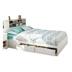 South Shore - South Shore Breakwater Queen Mates Storage Bed in Pure White Finish - South Shore - Beds - 3150210 - The Breakwater Mates Bed has a laminated particle board construction in a pure white finish. This Queen size mates bed features two underbed storage drawers for all your storage needs. It has simple clean lines for minimalist style and a streamlined look. Add the optional Breakwater Full/Queen Bookcase Headboard for a complete bed. With its sleek trendy pure white finish and hidden storage drawers, the Breakwater Mates Bed is the ideal central fixture of your private space.