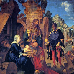"""Albrecht Durer The Adoration of the Magi - 16"""" x 20"""" Premium Archival Print - 16"""" x 20"""" Albrecht Durer The Adoration of the Magi premium archival print reproduced to meet museum quality standards. Our museum quality archival prints are produced using high-precision print technology for a more accurate reproduction printed on high quality, heavyweight matte presentation paper with fade-resistant, archival inks. Our progressive business model allows us to offer works of art to you at the best wholesale pricing, significantly less than art gallery prices, affordable to all. This line of artwork is produced with extra white border space (if you choose to have it framed, for your framer to work with to frame properly or utilize a larger mat and/or frame).  We present a comprehensive collection of exceptional art reproductions byAlbrecht Durer."""
