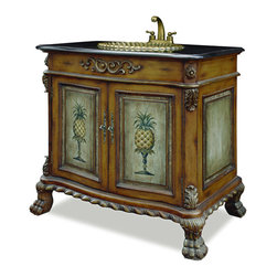 China Furniture and Arts - Pineapple Motif Vanity with Granite Top - This two door vanity comes complete with a granite top, patina brass sink, and brass faucet. The face of each door panel features a hand painted pineapple motif. Hand carved details, such as the winding pattern along the bottom are present throughout the piece. To further enhance its appearance, the sink is crafted to mimic the appearance of a seashell. Fully assembled.
