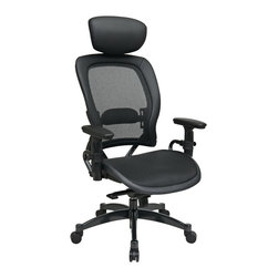 Office Star - Office Star Professional Breathable Mesh Black Chair With Adjustable Headrest - Professional Breathable Mesh Black Chair with Leather Trim, Adjustable Headrest and Gunmetal Finish Accents. Breathable  Mesh Seat and Back with Adjustable Lumbar Support. Adjustable Headrest. One Touch Pneumatic Seat Height Adjustment. Infinite Locking 2-to-1 synchro Knee Tilt Control with Adjustable Tilt Tension. Height Adjustable Arms with PU Pads. Gunmetal Finish Aluminum Base with Oversized Dual Wheel Carpet Casters. What's included: Office Chair (1).