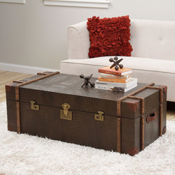 None - Journey Natural Croc-embossed Leather Trunk Coffee Table - Enhance your home,living or bed decor with the uniquely styled Journey trunk coffee table. With a soft,durable cover and spacious interior,this timeless table is perfect for hiding storage and adding a touch of rustic style to any room.
