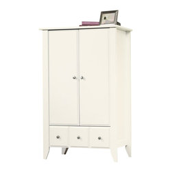Sauder - Sauder Shoal Creek Armoire in Soft White Finish - Sauder - Armoires - 411202 - Contemporary meets rustic in this Armoire from the Sauder Shoal Creek  collection.  Drawer features metal runners and safety stops allowing  you to use this in even the busiest of households.  The assembly  couldn't be easier with the patented T-slot drawer assembly system.   Behind the doors two adjustable shelves are sure to fit your clothes  and other household items.   Finished in a beautiful Oiled Oak there is  no doubt that this Armoire will be a staple in your child's bedroom  master bedroom or guest room for years to come. Features: