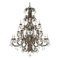Savoy House - Crystal 20 Light Up Lighting Chandelier from the Chastain Collection - Twenty Light ChandelierFeatures New Tortoise Shell with Silver Finish with Clear Crystal and Antique Cream Drip Candle CoversRequires Twenty 60W Candelabra  Lamps
