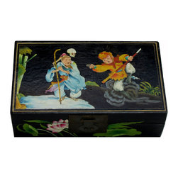 "Golden Lotus - Lacquer Rectangular Box with Monkey Lotus Graphic - Dimensions:   w14.25"" x d8.25"" x h4.5"""