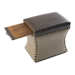 COUEF - Carey Classic Storage Ottoman - The Carey Classic Storage Ottoman is a people pleaser that just works. A great combination of hard and soft � featuring one fabric on top and a different on the bottom. Medium bronze nail  heads to round out the look. Its versatility in style makes it flexible in a variety of interiors.�It can be utilized as a stool, ottoman, end table, foot rest, coffee table and so much more. The possibilities are endless. COUEF�s signature pullout shelf and storage are constructed with quality solid wood.