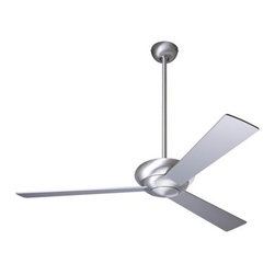 """Modern Fan Company - Altus Ceiling Fan with Optional Light by Modern Fan Company - The Modern Fan Altus Ceiling Fan, designed by Ron Rezek, injects refreshing simplicity into a room or covered outdoor patio with its design and air movement capabilities. Features 3 blades with a blade span of either 36"""", 42"""" or 52"""". Available with a number of remotes (please see details below). A contemporary look for the modern home. In 1997, The Modern Fan Company was founded by Ron Rezek to produce ceiling fans that provide superior air circulation, comfort and energy efficiency for contemporary-minded homeowners and design professionals. Having originated the contemporary ceiling fan genre, The Modern Fan Company remains the only company of its kind, committed exclusively to modern ceiling fan design.The Altus Ceiling Fan is available with the following:Details:Mouth-blown Matte Opal glass shade (for with-light options; adds 5"""" to overall height)3 bladesRound ceiling canopySloped ceiling adaptable up to 33 degrees12 degree blade pitchOne 5"""" and one 17"""" downrodReverse switch hardwired into fanLimited lifetime warrantyUL Listed for damp locations. Install indoors or in protected, fully covered outdoor locations. Using UL Listings to help select the right product for your space.ENERGY STAR qualified (without light only)Designed by Ron RezekOptions:Base/Canopy Finish: Brushed Aluminum, or Gloss White.Blade Diameter: 36"""", 42"""", or 52"""".Blade Color: Aluminum, or White.Lighting: 26W Compact Fluorescent, 75W Halogen,  or No Light.Modern Fan Control Options:Except for the Industry Fan, Modern Fan models do not use pull chains. Therefore, in order to operate your Modern Fan at different speeds and switch the light independently of the fan, you will need to select the appropriate control. Unless otherwise stated, all Modern Fan controls are designed and intended for operation of a single fan or fan and light. Any control ordered with a fan that has been configured with an energy-saving CFL wi"""