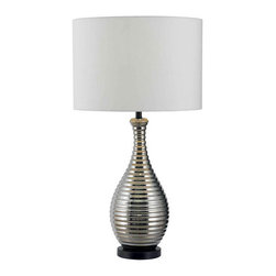 Kenroy Home - Kenroy Home 32105 Single Light Table Lamp Thetis Collection - Kenroy Home 32105 Contemporary / Modern Single Light Table Lamp from the Thetis CollectionRow after row of ribbed Chrome catches your eye and holds you suspended for a moment.  This lively bottle-shaped profile sits atop a Black base for a completely contemporary twist.Features: