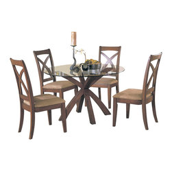 Homelegance - Homelegance Star Hill Round Glass Dining Table in Cherry - Enhance your personal style with this clean and stylish dining table and chairs. Rectangular table is ideal for entertaining while round table encourages conversation, prefect for today's buyer. Available in cherry finish.
