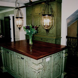 French Gothic Revival Kitchen Remodel - Island with crackle finish