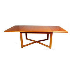 1950s Cherry Wood X-Base Dining Table - Dimensions 92.0ʺW × 40.0ʺD × 29.75ʺH