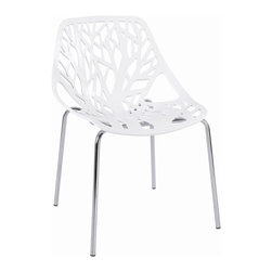 """Hampton Modern - Tree Cutout Dining Chair in White Plastic - With a sophisticated cut-out of a forest on its durable plastic seat, this chair adds a beautiful shadow to any wall it is placed near. Seat Height 16""""."""