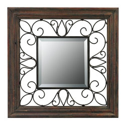 Sterling Industries - Wood Framed Mirror With Iron Detailing - Wood Framed Mirror With Iron Detailing