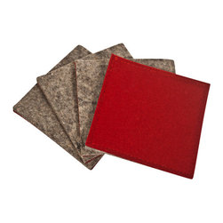 The Felt Store - Dual Sided Felt Coasters - Dark Red And Gray, 4 Pack - The Felt Store's Dual Sided Felt Coasters are made of a natural wool blend, measuring 4 inches X 4 inches (101.6mm x 101.6mm) and 1/5 inches(4mm) thick . The wool coasters will protect your beautiful furniture from moisture as well as add a touch of natural style to any room! Available in Dark Red and Grey on each side, flip them over for added variety. Each package contains four square coasters.