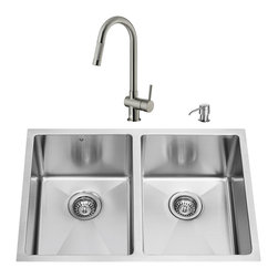 "VIGO Industries - VIGO All in One 29-inch Undermount Stainless Steel Double Bowl Kitchen Sink and - Give your kitchen a complete makeover with a VIGO All in One Kitchen Set featuring a 29"" Undermount kitchen sink, faucet, soap dispenser, two matching bottom grids and two sink strainers."