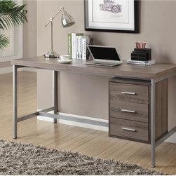 None - Dark Taupe Reclaimed Look Silver Metal Office Desk - This lovely desk features a quaint reclaimed wood dark taupe finish. The desk stands 31 inches high and features three convenient organizational drawers.