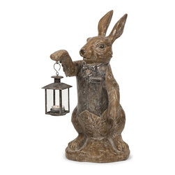 iMax - Mr. Rabbit Candle Lantern - Mr. Rabbit selflessly lights any room with his petite lantern candle Holder for tealight candles. His pleasant demeanor and adorable character are a traditional accessory for any home.