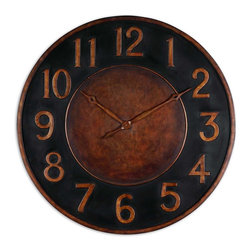 "Uttermost - Matera 36"" Metal Wall Clock - Express yourself! Hang this large, hand-forged metal clock on your wall and you'll never squint to see the time again. A three foot diameter of metal has a golden bronze and rust finish with a flat black accent. It's perfect for your kitchen whether your aesthetic is industrial or traditional."