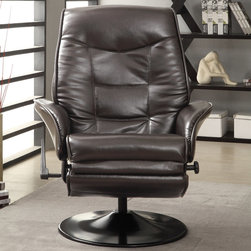 Coaster - Recliner, Brown - Relax in this leather-like vinyl swivel recliner in brown.