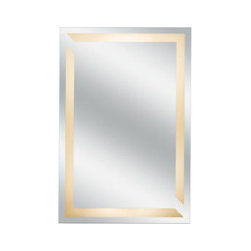 Back-lit wall mirror - This 30.5-inch by 18.5-inch wall mirror features 24-watt flourescent lights in one of three styles: Classic, deco or wave.