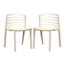 Wholesale Interiors - Baxton Studio Molded Plastic Ladderback Accent Chairs - Set of 2 - Updated for the twenty-first century, these Baxton Studio ladderback chairs are a new twist on an old favorite. Heavy-duty molded white plastic chairs are incredibly sturdy, and the easy-care finish can easily be wiped clean when necessary. Seats and backs are contoured for added comfort and give the chairs intriguing silhouettes. This terrific pair of chairs is ideal for dining, desk, or anywhere you need additional seating. Invest in no-frills, straightforward contemporary design with this white modern accent chair/dining chair. The set of two chairs is made from heavy-duty white molded plastic with a deep seating surface. Between the vertically straight legs and the horizontally straight backrest design, simplicity is the clear primary inspiration.