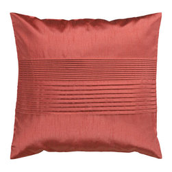Surya Rugs - Red Clay 22 x 22 Pleated Pillow - Simple yet stylish. This pillow is a mixture of a solid and striped design. The color rust accents this decorative pillow. This pillow contains a poly fill and a zipper closure. Add this 22 x 22 pillow to your collection today.  - Includes one poly-fiber filled insert and one pillow cover.   - Pillow cover material: 100% Polyester Surya Rugs - HH020-2222P