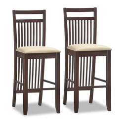Leick Furniture - Cream Faux Leather Seat Bar Stool - Set of 2 - Padded and upholstered seat. Solid hardwood construction. Slatted back design. Wenge finish w/Cream Faux leather seat. Pebble texture faux leather. Minor assembly required. Seat height: 30 in.. 16.5 in. L x 18 in. W x 47 in. HA deep, wenge wood finish on slatted design elements offers a visual treat and on these sturdy bar stools. Constructed of solid hardwood with a crowned seat padded for comfort and upholstered in Cream Faux leather.