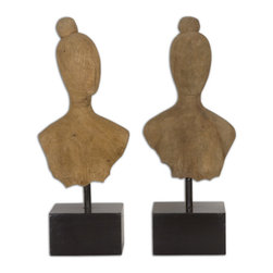 Uttermost - Arlie Wooden Sculptures Set of 2 - Naturally carved mango wood with matte black metal bases. Sizes: Sm-7x16x5, Lg-7x17x5.