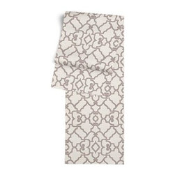 Warm Gray Scroll Trellis Custom Table Runner - Get ready to dine in style with your new Simple Table Runner. With clean rolled edges and hundreds of fabrics to choose from, it's the perfect centerpiece to the well set table. We love it in this chic Moroccan style trellis with intricate outlined scrolls of warm gray on ivory cotton.