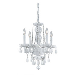 Crystorama - 4 Light All White Hand Cut Glass Arm Chandelier - The Envogue collection is traditional, timeless, elegant and romantic, with such details as opulent, all-white glass arm chandeliers and hand cut white crystal jewels. Crystorama's opulent ALL WHITE glass arm chandeliers are nothing short of spectacular.