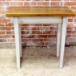 Rustic Reclaimed End Table With Oyster White Glaze - Made by http://www.ecustomfinishes.com