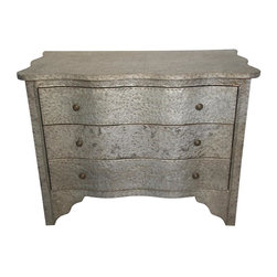 """Noir Trading - Genova Metal Chest - The application of small head rustic nails to create patterns on a metal frame, make the Genova Metal Chest a unique gem that is sure to garner """"ooh's"""" and """"ahh's"""" from your guests.  A wave simulated facade combined with the industrial metal aesthetic give the Genova a one of a kind sensibility while still taking care of your clothing storage needs."""