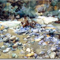 Picture-Tiles, LLC - Purtud Bed Of A Glacier Torrent Tile Mural By John Sargent - * MURAL SIZE: 36x48 inch tile mural using (12) 12x12 ceramic tiles-satin finish.