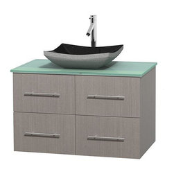 Wyndham Collection - 36 in. Single Bathroom Vanity in Gray Oak, Green Glass Countertop, Altair Black - Simplicity and elegance combine in the perfect lines of the Centra vanity by the Wyndham Collection . If cutting-edge contemporary design is your style then the Centra vanity is for you - modern, chic and built to last a lifetime. Available with green glass, pure white man-made stone, ivory marble or white carrera marble counters, with stunning vessel or undermount sink(s) and matching mirror(s). Featuring soft close door hinges, drawer glides, and meticulously finished with brushed chrome hardware. The attention to detail on this beautiful vanity is second to none.