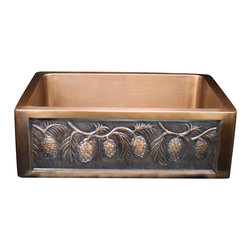 None - Handmade Pinecone Apron Motif 30-inch Copper Farmhouse Sink - Handmade kitchen sink is beautifully embossed with a pinecone motifFarm-style sink is crafted of heavy-gauge copperHome improvement hardware is not treated so that it may retain its 'Living Finish'