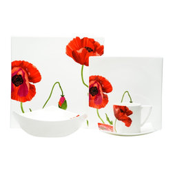 Red Vanilla - Red Vanilla Summer Sun 5 Piece Place Setting - Spruce up your dinner table with a new set of quality dishesFloral dinnerware is a stylish addition to any kitchen decorDecorated bone China dining set provides service for one