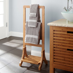 Aldona Bamboo Towel Rack - Constructed of earth-conscious bamboo, this towel rack warms up bath decor with a natural look and smooth finish. Drape towels to keep them conveniently close.