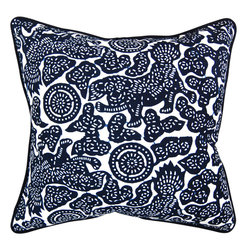 """Luru Home - 20"""" x 20"""" Foo Dogs Pillow - Luru Home - LuRu Home works with Artisans along China's eastern seaboard to produce indigo hand - dyed textiles. Chinese have practiced Nankeen indigo hand - dying, a sibling of Japanese Shibori, for over 3,000 years. The process remains largely preserved despite the idustrialization of the textile market."""