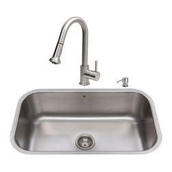 """VIGO Industries - VIGO All in One 30-inch Undermount Stainless Steel Kitchen Sink and Faucet Set - Add some sophistication to your kitchen with a VIGO All in One Kitchen Set featuring a 30"""" Undermount kitchen sink, faucet, soap dispenser, matching bottom grid, and sink strainer."""