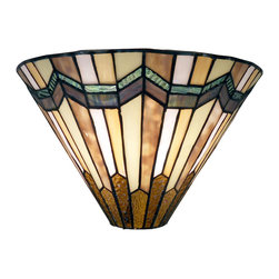 Warehouse of Tiffany - Tiffany Style Arrow Head Wall Sconce - Bring an air of class to your home with this Tiffany wall sconce. Its arrowhead design and hand-cut glass pieces give it a focused look that will draw attention, and its antique-bronze finish ensure it coordinates with your traditional decor.