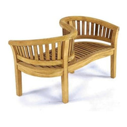 Anderson Teak - Curve Love Seat Bench - Unfinished - Curved design. Teak wood construction. 59 in. L x 28 in. W x 32 in. H (75 lbs.)